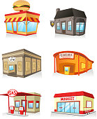 Public building cartoon set, fast food restaurant, cinema, gas station,theatre, bar, super market, market, servide industry.