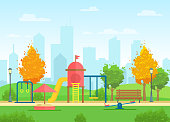 Vector illustration of public city park with playground for children and urban city landscape on the background in flat cartoon style