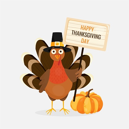 Vector illustration of pumpkin, happy thanksgiving turkey wearing piligrim hat and holding a banner