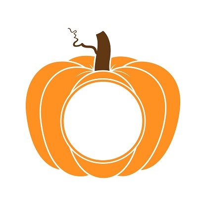 Vector illustration of pumpkin or cucurbita round monogram isolated on white background. Pumpkin monogram with copy space for t shirt design, farm market, fall harvest banner, Thanksgiving, Halloween
