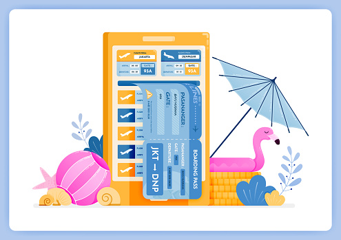 Vector illustration of purchase holiday airline tickets using marketplace mobile apps. Vector illustration set isolated on white background and can used for landing page, website, poster, mobile apps
