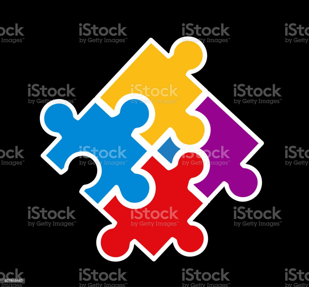 Vector illustration of puzzle pieces vector art illustration