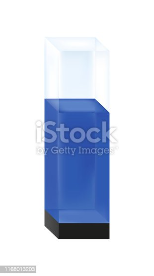 Quartz glass cuvette with blue liquid sample solution isolated on a white background.