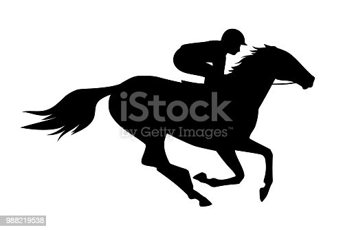 Vector illustration of  race horse with jockey. Black isolated silhouette on white background. Equestrian competition symbol.