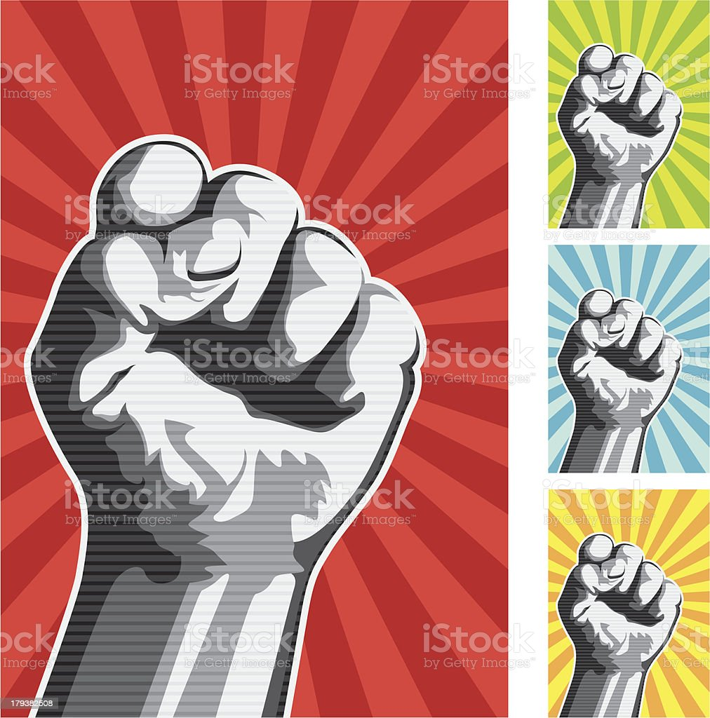 Vector illustration of raised fist vector art illustration