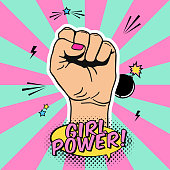 Vector illustration of raised women's fist in pop art comic style. Placard with women's rights and solidarity theme, feminism concept, protest, rebel, revolution