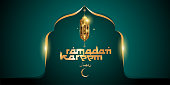 Vector illustration of Ramadan and Eid Mubarak for greeting card with golden mosque and lantern