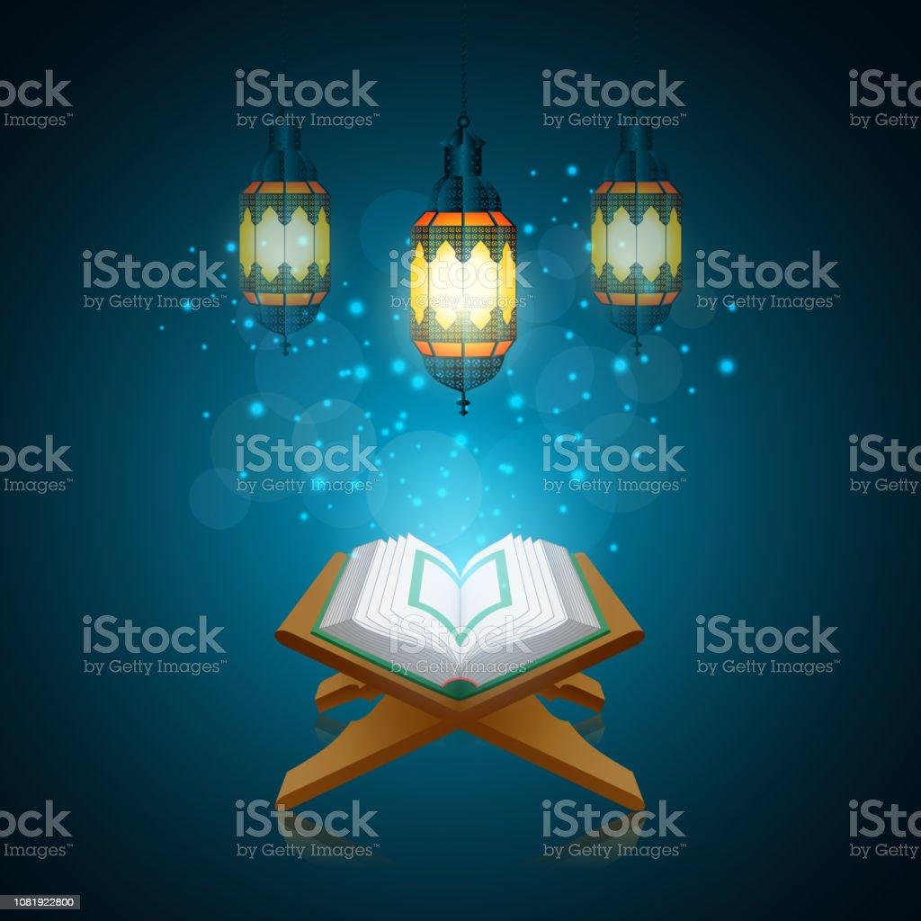 vector illustration of Ramadan Kareem beautiful greeting card with traditional Arabic lantern on blurred blue background