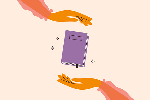 Vector illustration of reading books lover with woman hands holding book carefully