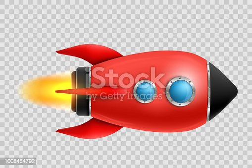 Vector illustration of realistic 3D rocket space ship launch isolated on transparent background. Space exploration. Art design startup creative idea. Abstract concept graphic element.