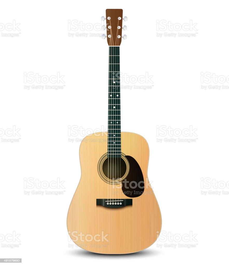 Vector illustration of realistic acoustic guitar vector art illustration
