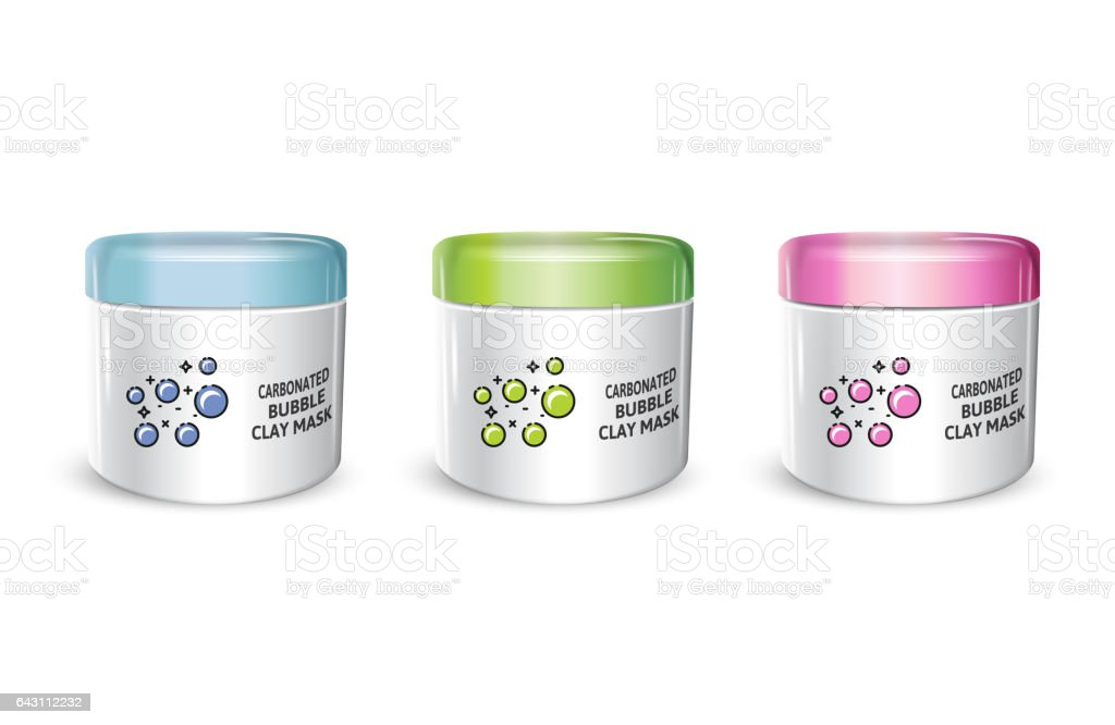 Vector illustration of realistic carbonated bubble mask containers vector art illustration