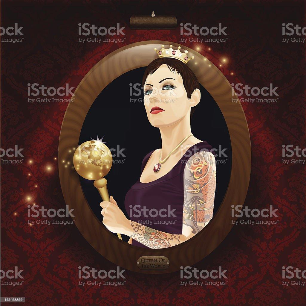Vector Illustration of Realistic Portrait. Queen of the World. vector art illustration