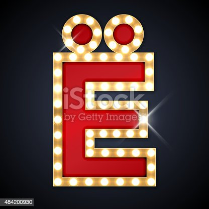 istock Vector illustration of realistic retro signboard letter E with dots 484200930