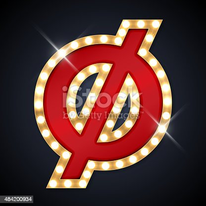 istock Vector illustration of realistic retro signboard letter O with line 484200934