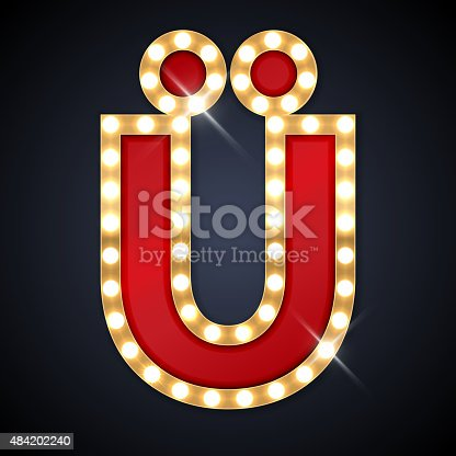 istock Vector illustration of realistic retro signboard letter U with dots 484202240
