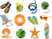 Realistic summer holidays seaside beach icons set isolated vector illustration.