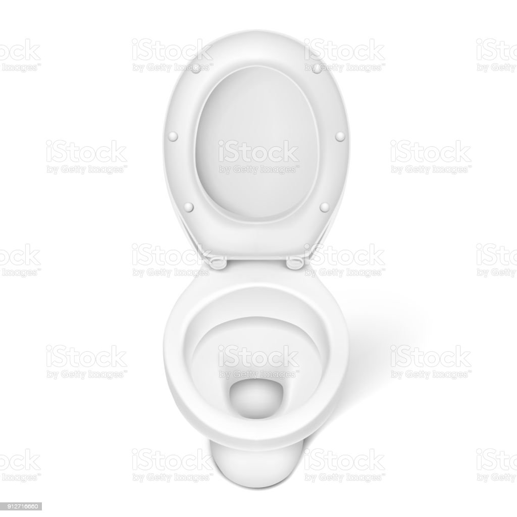 Vector Illustration Of Realistic Toilet Bowl White Porcelain Seat ...