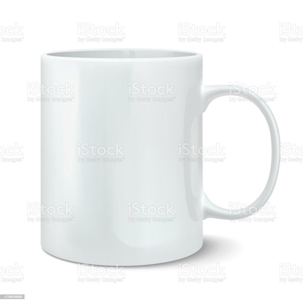 Vector illustration of realistic white mug vector art illustration