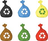 Vector illustration of recycle bin icons.