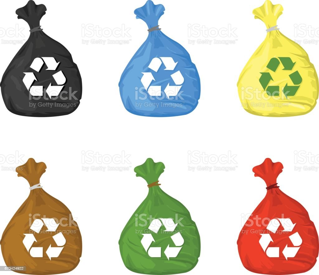 Vector illustration of recycle bin icons. vector art illustration