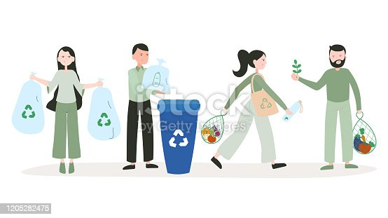 istock Vector Illustration of Recycling Concept. Flat Modern Design for Web Page, Banner, Presentation etc. 1205282475