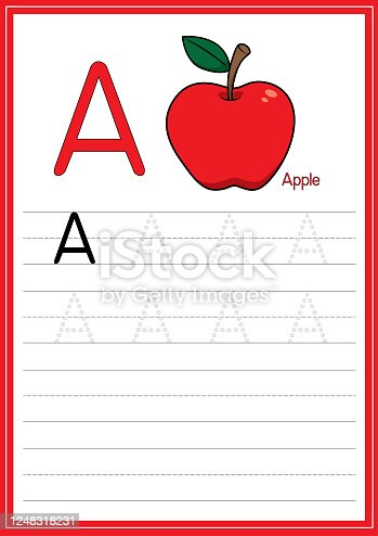 Vector illustration of Red Apple isolated on a white background. With the capital letter A for use as a teaching and learning media for children to recognize English letters Or for children to learn to write letters Used to learn at home and school.