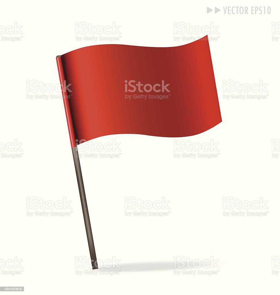 Vector illustration of red flag on white vector art illustration