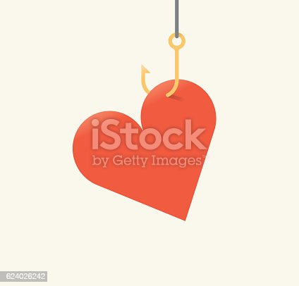 istock Vector illustration of red heart symbol on fishing hook. 624026242