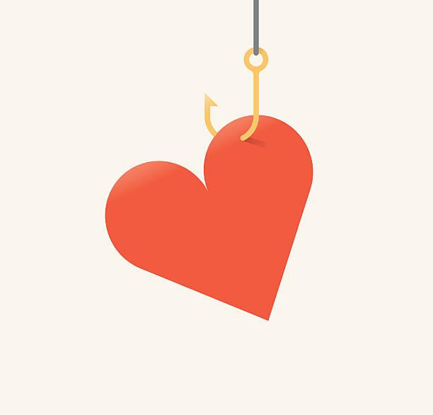 Vector illustration of red heart symbol on fishing hook. Vector illustration of red heart symbol on fishing hook.  romance stock illustrations
