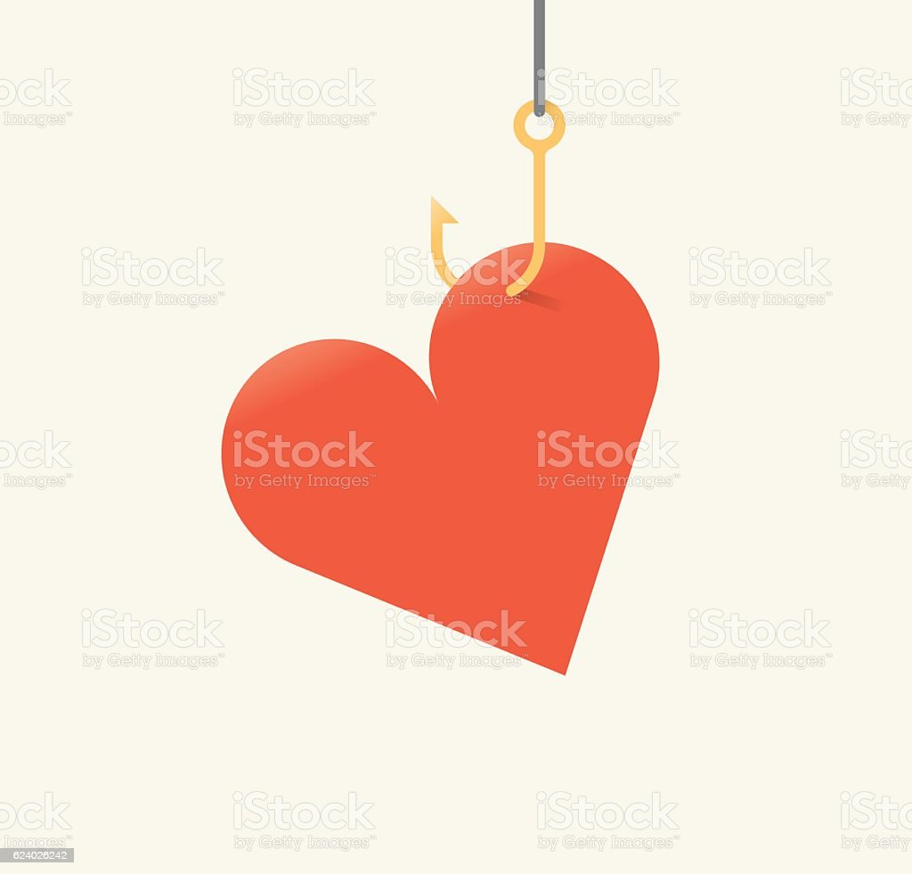 Vector illustration of red heart symbol on fishing hook. vector art illustration