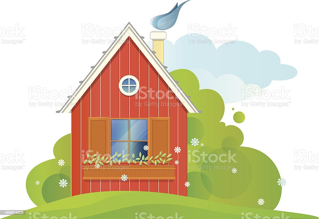 Vector illustration of red house with a summer green landscape royalty-free vector illustration of red house with a summer green landscape stock vector art & more images of architecture