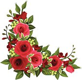 Vector illustration of red roses in corner