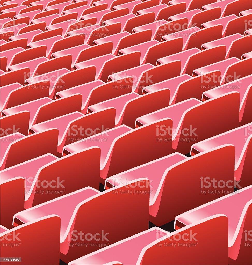 Vector illustration of red seats in a soccer stadium vector art illustration