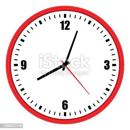 istock Vector illustration of red wall clock over white 1285502746