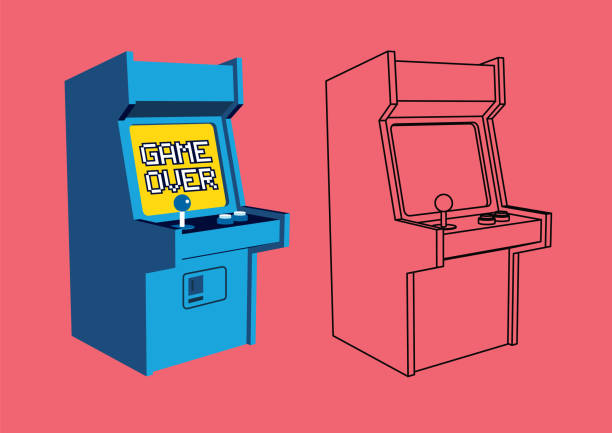 Vector Illustration of Retro Arcade Game  Machine with Outline Vector Retro Arcade Game  Machine with Outline joystick stock illustrations