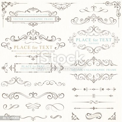 A pale gray background with barely visible, slightly darker gray pin stripes behind two columns of ornately scrolled text frame samples on the top of the rectangular image, extending into samples of multiple frame sides on the bottom of the image.  Within three of the complete frames are the words