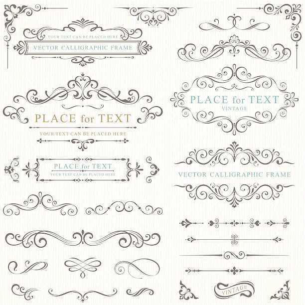 vector illustration of retro frames - marriage stock illustrations