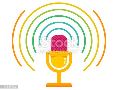 Vintage vector illustration of retro microphone and loud sound. Microphone on isolated background with rainbow sound