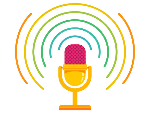 vector illustration of retro microphone - podcast stock illustrations
