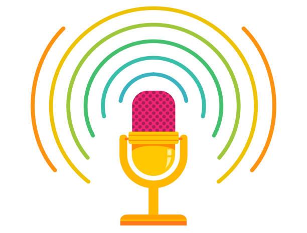 ilustrações, clipart, desenhos animados e ícones de ilustração em vetor de microfone retrô - podcast