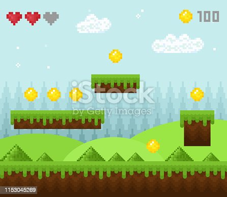 Vector illustration of retro style pixel game landscape, pixelated game scenery icons, old game background, pixel design