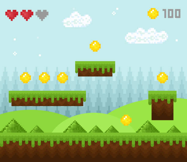 Vector illustration of retro style pixel game landscape, pixelated game scenery icons, old game background, pixel design. Vector illustration of retro style pixel game landscape, pixelated game scenery icons, old game background, pixel design leisure games stock illustrations