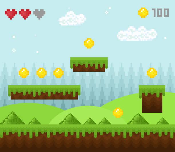 stockillustraties, clipart, cartoons en iconen met vector illustratie van retro-stijl pixel spel landschap, korrelig spel landschap iconen, oude spel achtergrond, pixel design. - vrijetijdsspel