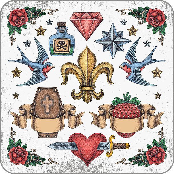Ilustración vectorial de la colección retro tatuaje - ilustración de arte vectorial