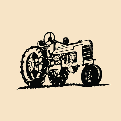 Vector illustration of retro tractor in hand sketched style. Farm fresh symbol. Bio products emblem. Eco food sign.