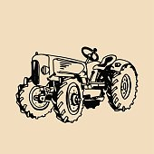 Vector illustration of retro tractor in hand sketched style. Farm fresh symbol. Organic products badge. Eco food sign.