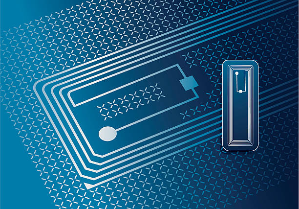 Vector illustration of RFID tag Vector illustration of RfID tag. Radio frequency identification  is applied to or incorporated into a product, animal, or person for the purpose of identification and tracking using radio waves. radio frequency identification stock illustrations