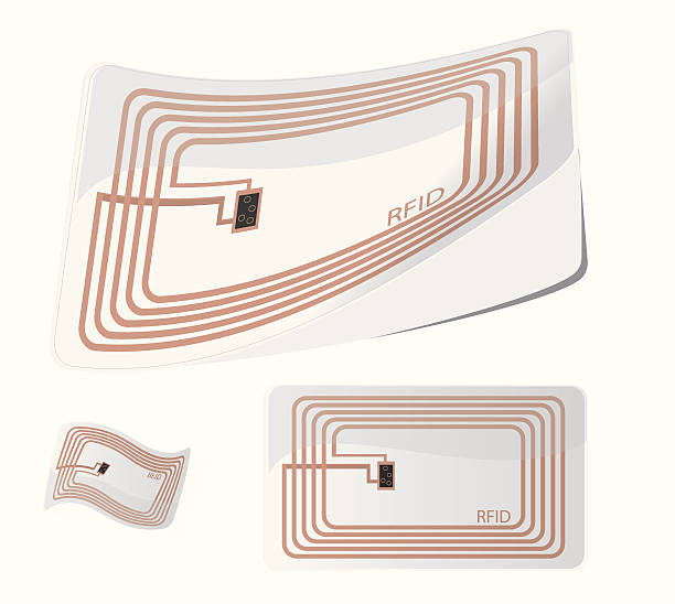 Vector illustration of RFID tag Vector illustration of RfID tag. Radio frequency identification is applied to or incorporated into a product for the purpose of identification and tracking using radio waves. radio frequency identification stock illustrations