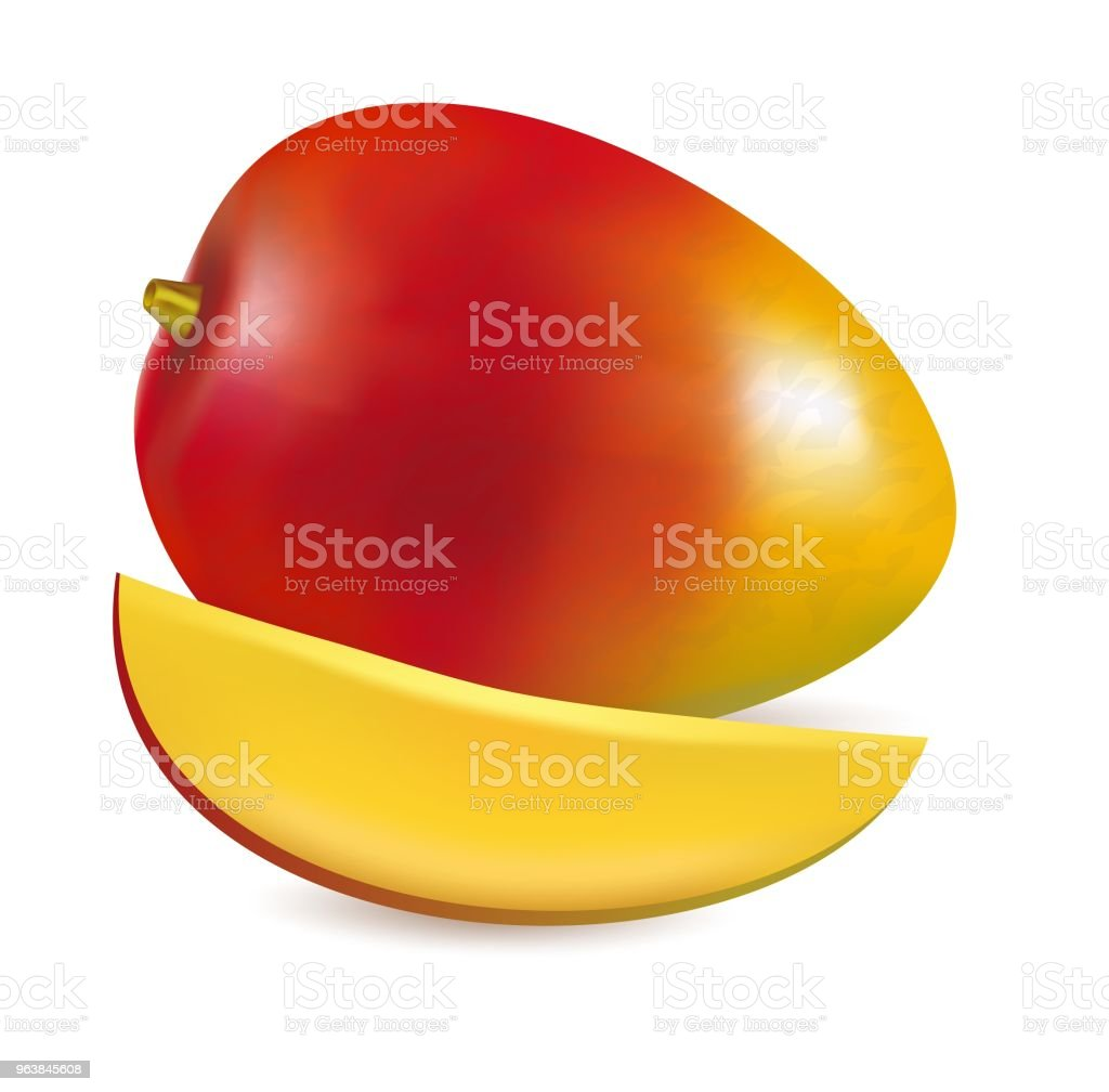 Vector illustration of Ripe fresh mango with slice - Royalty-free Agriculture stock vector